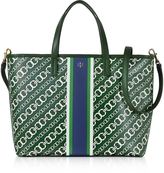 Tory Burch Gemini Link Green Coated Canvas Small Tote Bag