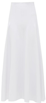 Norma Kamali Grace Raw-seam Flared Midi Skirt - White
