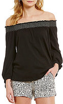 Jessica Simpson Marlena Off-The-Shoulder Tie-Detail Long-Sleeve Top
