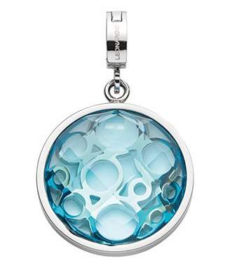 Jewels By Leonardo Leonardo Jewels women pendant Lucia Darlin's stainless steel/silver colored glass blue Darlin's Clip small circle round ornament 016555