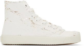 Maison Margiela White and Gold Tabi High-Top Sneakers