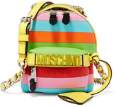 Moschino Mini Embellished Striped Leather Shoulder Bag - Pink