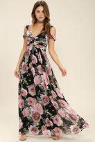 LuLu*s Give Me Amore Black and Pink Floral Print Maxi Dress