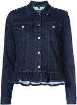 J Brand frilled hem denim jacket - women - Cotton/Polyurethane - XS