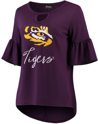 Unbranded Women's Purple LSU Tigers Ruffle And Ready Keyhole Tri-Blend 3/4-Sleeve T-Shirt