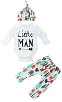 Morecome Baby Printed Long Tops Pants Hat Outfits Set (0-3M, )