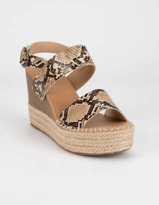 Soda Sunglasses Trip Snake Womens Espadrille Wedges