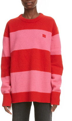 Acne Studios Nimah Stripe Face Patch Wool Sweater