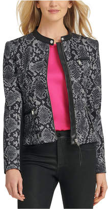 DKNY Snake-Embossed Faux-Leather-Trim Jacket