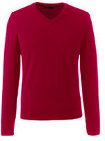 Lands' End Men's Tall Classic Merino V-neck Sweater-Toffee Heather