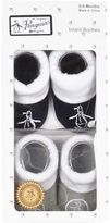 River Island Mini boys blue Penguin booties set