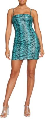 Tiger Mist Faux Leather Snake Print Mini Dress