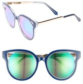 Leith Women's 53Mm Mirrored Enamel Cutout Sunglasses - Blue