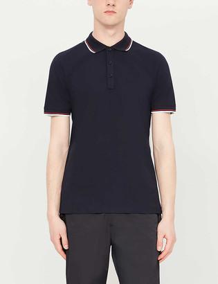 HUGO BOSS Striped-trim slim-fit stretch-cotton polo shirt