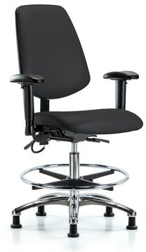 Leonardo Symple Stuff Ergonomic Drafting Chair Symple Stuff Upholstery Color: Black, Casters/Glides: Casters, Customization: Included