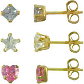 JCPenney FINE JEWELRY Girls 14K Gold Multicolor Cubic Zirconia 3-pr. Earring Set