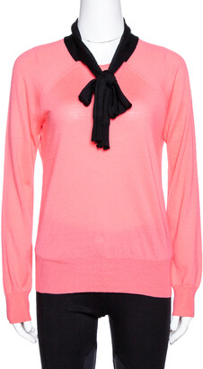 Louis Vuitton Pink Wool & Silk Knit Contrast Trim Jumper M