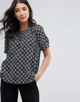 French Connection Media Tile Print Sheer Blouse