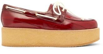 Gabriela Hearst Arthur Leather Flatform Loafers - Womens - Burgundy