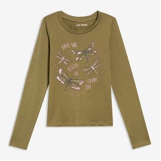 Joe Fresh Kid Girls' Graphic Tee, Olive (Size M)
