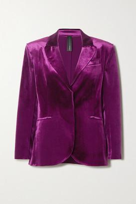 Norma Kamali Stretch-velvet Blazer - Pink