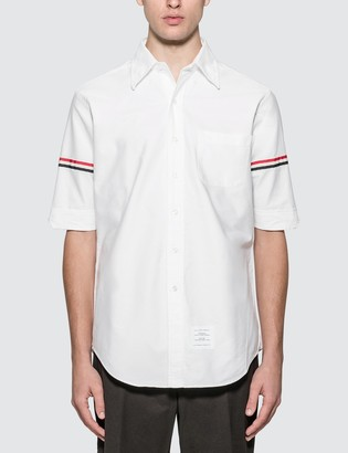 Thom Browne Classic Short Sleeve Oxford Shirt With Stripe