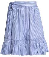 Alexis Shirred Striped Cotton-Poplin Skirt