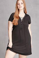Forever 21 FOREVER 21+ Plus Size Lace-Up Mini Dress
