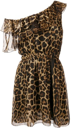 Saint Laurent one-shoulder leopard print dress