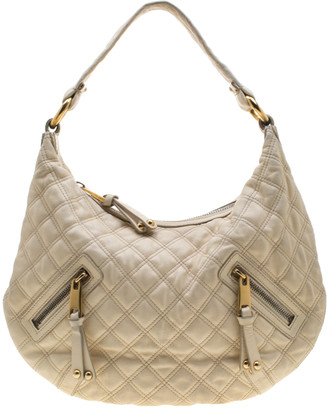Marc Jacobs Cream Quilted Leather Banana Hobo Bag