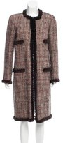 Chanel Mink Fur-Trimmed Wool Coat