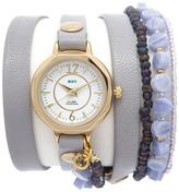 La Mer Goldtone Octagonal Dial 3-Strand Chain and Gray Leather Wrap Watch