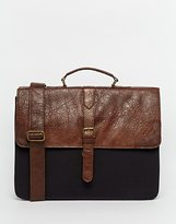 Asos Smart Satchel In Brown Faux Leather And Contrast Canvas - Brown