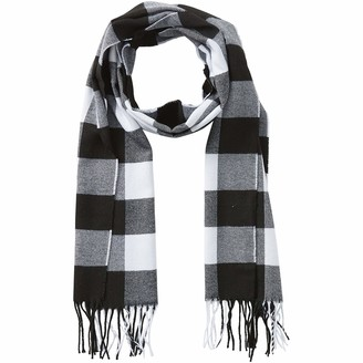 Tickled Pink Womens Buffalo Check Fringe Scarf