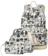 Greeniris Women Cute Canvas School Backpacks Bookbags Owls Laptop Bags 3 Pieces Set for Teen Girls
