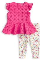 Ralph Lauren Infant Girl's Eyelet Peplum Top & Leggings Set