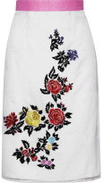 House of Holland Heart Breakers Embroidered Silk-organza Skirt - White
