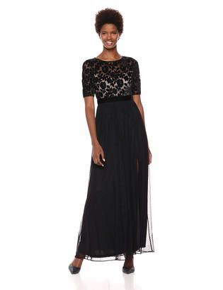 Adrianna Papell Women's Elbow Sleeve Long Beaded Velvet Dress