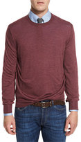 Brunello Cucinelli Fine-Gauge Knit Elbow-Patch Sweater, Burgundy