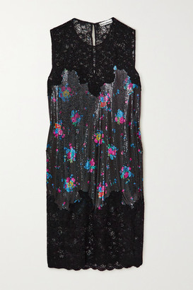 Paco Rabanne Lace And Floral-print Chainmail Dress - Black