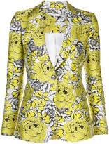 Alice + Olivia fitted V-neck floral pattern blazer