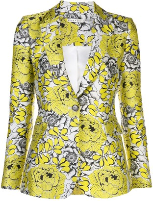 Alice + Olivia fitted V-neck floral pattern blazer