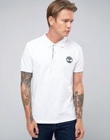 Timberland Slim Logo Pique Polo In White