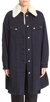MM6 MAISON MARGIELA Women's Oversize Denim Jacket With Faux Shearling Collar