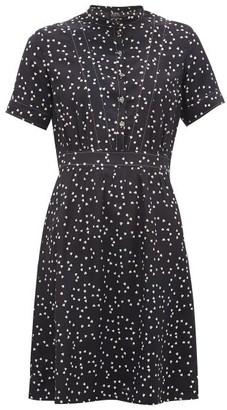 A.P.C. Camille Heart-print Silk Crepe De Chine Mini Dress - Navy