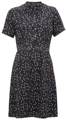 A.P.C. Camille Heart-print Silk Crepe De Chine Mini Dress - Womens - Navy