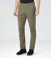 Reiss Reiss Ciaro - Cotton Trousers In Brown