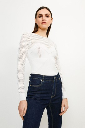 Karen Millen Open Work Pointelle Knit Jumper