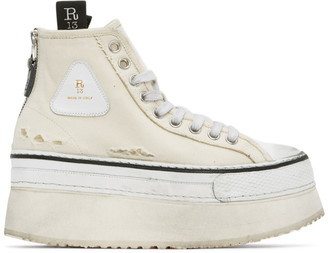 R 13 Off-White Platform High-Top Sneakers