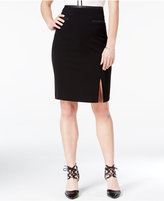 Amy Byer Juniors' Faux-Leather-Trim Pencil Skirt